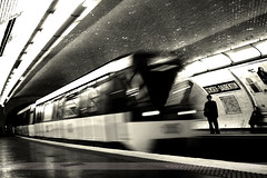 Censier-Daubenton, Paris, France (Seven Seconds Before Sunrise) Tags: travel people bw blur paris france underground europe metro 1on1photooftheday