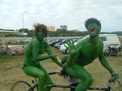 The Banana (Velovotee) Tags: charity green painting fun cyclists sydney australia banana censored bicycles nsw bodypainting xxx tandem popular fundraiser tandembike sydneybodyartride flickrcensorship americanwowserism