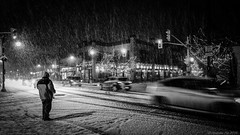 Snow Night (Andrew Ha) Tags: blackandwhite fuji night ottawa people snow streetphotography wideangle winter