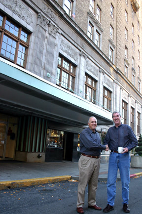 Tim Quigg and Chester Trabucco working on the Winthrop Hotel.