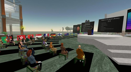 The Crowd looks on as David Lankes Presents in Second Life