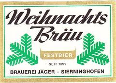 Austria - Brauerei Jäger (Sierninghofen) (cigpack.at) Tags: bier beer brauerei brewery label etikett bierflasche bieretikett flaschenetikett austria österreich jäger sierninghofen festbier weihnachts bräu christmas xmas weihnachten