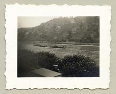 "Rhine Valley (Vintage Cars & People) Tags: vintage classic black white ""blackwhite"" sw photo foto photography landscape rhine riverrhine rhein rheintal barge riverbarge vineyards badsalzig salzig mittelrhein rhinegorge middlerhinevalley"