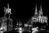 L'empereur et la cathédrale (jjcordier) Tags: noiretblanc bnw cologne cathédrale statue westphalie