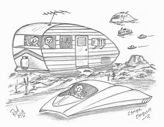 Camper Jamboree (rod1691) Tags: camper rv myart art sketchbook bw scifi grey concept custom car retro space hotrod drawing pencil h2 hb original story fantasy funny tale automotive illistration greyscale moonpies sketch sexy