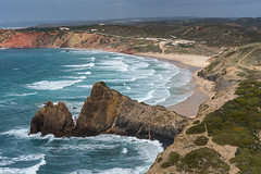 Overlooking Pria do Amado (hanschristian_nielsen) Tags: portugal vandreferie rotavicentina hiking ocean sea water wave atlanticocean cliff beach