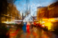 Market Day, St Albans (RCARCARCA) Tags: marketplace ghosts cathedral photoartistry people clocktower buildings canon orange red 70200l bustle blue grunge stalbans marketstall tourists crowds flags stormclouds architecture clouds frenchrow market 5diii hustle