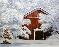 Hidden Barn - A Painting By Pete Jendro, A Minnesota Artist, Acrylic On Canvas, 16 x 20 Inches (France1978) Tags: petejendro petejendrominnesotapainter petejendrominnesotaartist petejendrolandscapepainter petejendrolandscapeartist winterscene antliquebarn oldbarns