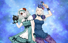 Ro & Au (Rosenrott Blackheart ☾) Tags: 2d elf elven expresion expression lovers lady albine albino couple whitehair woman worlds whitequeen