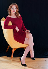 Shannon (tacosnachosburritos) Tags: woman girl lady chick beautiful glamour glam pretty lovely intimate studio illinois portrait headshot fashion chic thelook model legs arms hands alluring redhead reddress hot milf