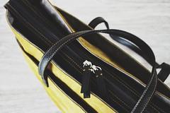 Tote bag Adventure (f.michela1987) Tags: tote bag handmade borsa pelle tessuto canvas giallo leather calliphora