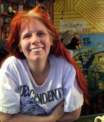 20170428 2313 - Pandemic Legacy date night #3 - Carolyn - (by Beth) - 34132364 (Clio CJS) Tags: 20170428 201704 2017 virginia alexandria clintandcarolynshouse upstairs gamenight gamenight20170428 leaning sitting carolyn camerapersonbethh cameraphone smiling smile