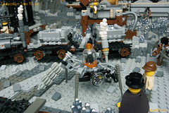 31_Endarmire_Iron_Mine (LegoMathijs) Tags: lego moc legomathijs steampunk mine miners mining rocks iron ore steampowered drones tracked driller flying discovery vehicle explorer speeder transporter transport airship clockwork drone speeders walking steamcopters pickaxe tools crates shaft cranes workshop gears cave docks