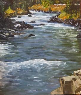 Clear Creek Colorado, cigar box oil.     #miniature#Colorado#cigar box#art#arte#oil painting#water#ruver#color