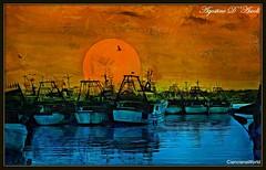 Barche con sole al tramonto - Marzo-2018 (agostinodascoli) Tags: barche sole cielo texture colore fullcolor sciacca sicilia nikon nikkor creative art digitalart digitalpainting photoshop photopainting agostinodascoli mare acqua elaborazionidigitali paesaggi landscape