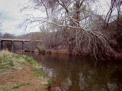 Oak Creek, Page Springs Road/bridge in distance (EllenJo) Tags: pentaxqs1 march25 2018 verdevalley arizona ellenjo oakcreek az