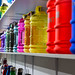 Colorful plastic bottles and canisters