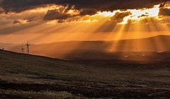 Let there be light (Barrie Buckley Photography) Tags: sunset clouds rays landscape turbines northernireland spring colours