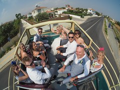 Wedding bus. Cyprus. (CWhatPhotos) Tags: cwhatphotos 2018 girls woman group confetti together groom best man guests happy smiles smile smiling fun bride bridesmaids april digital camera pictures picture image images photo photos foto fotos that have which contain olympus seafront golden coast beach blue sky skies sunny day holiday cyprus eastern protaras goldencoastbeachhotel wedding people party samyang fisheye fish eye view 75mm wide angle prime lens bus tour tours road hot