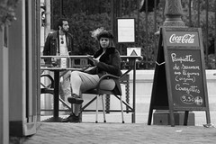 Smoking girl (ZUHMHA) Tags: marseille france pharo people gens human humain smoke fumée scènedevie urban urbain café terrasse street rue letter lettre mot word sign texte text écriture monochrome