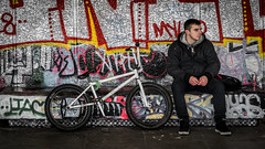 One Man And His Bike (Sean Batten) Tags: southbank london england unitedkingdom gb nikon d800 85mm bike bmx bicycle city urban person candid streetphotography street graffiti