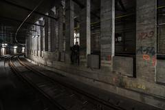 dodging trains (T.3xplore) Tags: exploring escape security semiactive belgium urbex urbanexploring citylights infiltration subway tracks train underground light night active hide