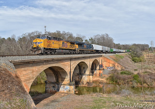 NS 213 crossing over Lawsons Fork Creek with UP/CSX power