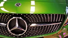 Mercedes A180 AMG. (ManOfYorkshire) Tags: car auto automobile jct600 yorkshire southyorkshire meadowhall shopping centre sheffield mercedes mercedesbenz a180 amg automatic line metallic green radiator grille face 3pointedstar display show