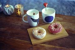 film (La fille renne) Tags: film analog 35mm canonae1program lafillerenne 50mmf18 cinestill cinestill800t tungsten home coffee food donut