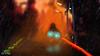 Back home (The Aphol) Tags: afol lego cyberpunk diorama future glow legography legophotography moc neon scifi tech toy toyphotographers toyphotography speeder bike rain mood