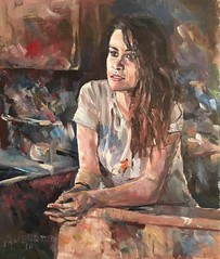 Portrait girl in Kitchen (Captain Wakefield) Tags: interior pretty beautiful burton samuel contemporary art lady figurative impressionist oil girl woman painting