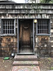 Rustic Doorway (Melinda Stuart) Tags: shingles steps brick unitarian uc berkeley craftsman church academic ucb redwood leadedwindows windows architecture