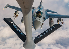 Coyotes and Vipers (MulesAFpilot) Tags: kc135 f16 bombs fighter fightingfalcon viper missiles cas closeairsupport tanker canon70d canonef2470f28lii southwestasia military usairforce airrefueling