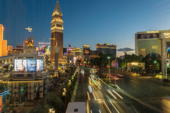 On the Strip (tquist24) Tags: lasvegas lasvegasblvd lasvegasstrip nevada nikon nikond5300 themirage thevenetian bluehour car cars city cityscape desert evening geotagged hotel hotels lighttrails lights longexposure reflection reflections sky street traffic unitedstates