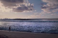 Oahu Hawaii - North Shore Walker On The Beach (Modkuse) Tags: nikonf2photomic hawaii oahu northshore waves pacific ocean clouds sunset waimea waimeabay nikkorlens nikkor24mmf28 kodak kodakslide transparency slidefilm