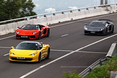 Ferrari 458 Italia / Lamborghini Aventador LP700-4, Sunny Bay, Hong Kong (Daryl Chapman Photography) Tags: va278 rc862 aw53 ferrari lamborghini 458 italia aventador italian lp7004 hongkong china sar canon 70200l pan panning auto autos automobile automobiles car cars carspotting carphotography