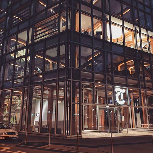 Daylight highlights the aluminum exterior, looking efficient and professional. At night, the inner lights emphasize the wooden, soft, toy-like interior. And it's not an updated NYT logo