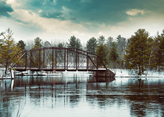 ~O, wind, if winter comes, can spring be far behind? (Fire Fighter's Wife) Tags: winterwonderland winter ice icy snow river sky storm stormy water bridge rust rusty moody atmospheric emotive dreamy dreams reflections landscape train trees green nikon nikond750 24120mm 24120mmf4 april 7dwf landscapes 7dwfsaturdaytheme tree clouds