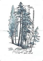 Calle Juan Vigón (P.Barahona) Tags: urbansketcher calle árboles cedros cipreses urbano