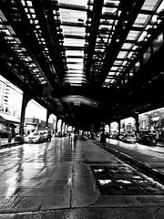 Rainy Day Under El (Robert S. Photography) Tags: rain rainyday bw subway el street brooklyn newyork brightonbeach sony dscwx150 iso500 april 2018 railway tram
