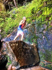 Zoe. Waterfall trickle. Refuge Bay. Pittwater. (miaow) Tags: bellalunaboat abcmyphoto exploring australia pittwater liveaboard autumn2018 nsw
