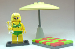 Brick Yourself Custom Lego Figure Beachgoer with Martini
