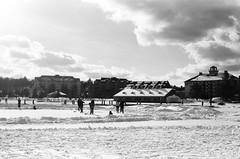 Pond Hockey, Lake Muskoka (Kevo89) Tags: film jch400 japancamerahunter streetpan400 bw blackwhite 35mm minolta muskoka winter lake pond frozen cold snow hockey gravenhurst