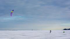 Sail skiing (ristoranta) Tags: lumi sail luonto winter jää talvi nikond7100tamron16300mmf3563 skiing wind tuulipurje snow haukilahti ice