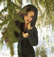 Madlen (Lapochka_G) Tags: dolls dollphotos dolloutfits dollclothes dollsweaters barbie barbieholiday winter snow trees green