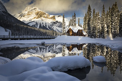 That Lodge View (andrewpmorse) Tags: yoho yohonationalpark nationalpark nationalparks landscape mountains canada emeraldlake britishcolumbia lake trees winter cold sunset emeraldlakelodge lodge snow