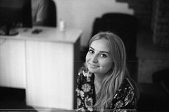 :) (nat.redfox) Tags: beautiful city focus daylight eyes zenitet film grain girl light happiness smile portrait spring
