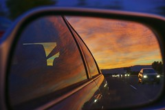 Freedom's just another word for nothin' left to lose (PeterThoeny) Tags: milpitas sanjose california siliconvalley sanfranciscobay sanfranciscobayarea southbay dusk sunset outdoor road highway car backmirror mirror cloud cloudy sky sony nex6 selp1650 1xp raw photomatix hdr qualityhdr qualityhdrphotography fav100