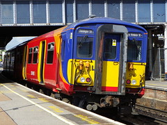 455716 (Rob390029) Tags: 5716 455716 south west trains class 455 train track tracks rail rails travel travelling transport transportation transit public emu electric multiple unit clapham junction railway station clj london red colour colours colourful