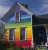 Grey Cat Guarding Rainbow House 6127 B (jim.choate59) Tags: cat house jchoate on1pics colorful porch d610 rainbow oregon